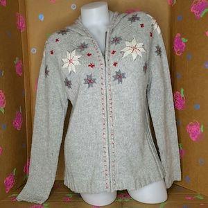 Eddie Bauer Gray Snowflake Lambswool Sweater Large